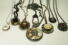 Gorgeous vintage mother-of-pearl buttons come together for some unique, One-of-a-Kind necklaces! I really love how stacking them with a glass or metal button gives them extra dimension. You can find these necklaces, and more like them, in the ksyardbird Sneak Peek photo album on Facebook :-)