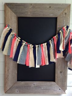 Coral Navy Gold Chevron Fabric Garland  by AlpineRidgeEvents