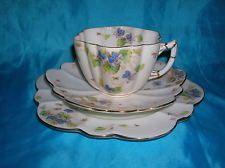 Rare Shelley Violets Daisy Shape Trio Cup Saucer Tea Plate Foley Rd 115510 6829