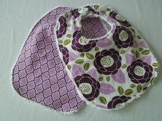 Baby Girl Bibs Set of 2  Purple flowers and lattice by HazelLove, $14.00