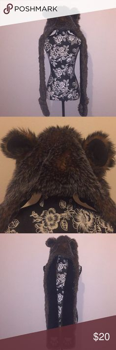 """Bear hoodie with mittens Hoodie styles like a bear. Drapes down like a scarf has paws that you can put your hand in like mittens. Used in good condition. Small peeling on """"paws"""" see last photo Accessories Scarves & Wraps"""