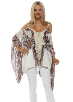 PAISLEY PRINT LACE PANEL COLD SHOULDER TOP LIMITED SPECIAL OFFER
