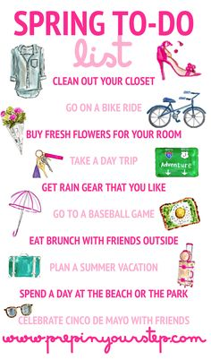 spring bucket list Ive always been a bit indifferent towards Spring. Not because I dont enjoy the weather but instead because the Spring semester at school . Spring Break, Spring Time, Happy Spring, Fee Du Logis, Evelyn Henson, Life List, Summer Bucket Lists, Spring Activities, Spring Has Sprung