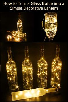 Spend a romantic night with your significant other by amping up the mood with this decorative lantern - How to Turn a Glass Bottle into a Simple Decorative Lantern Empty Glass Bottles, Recycling Ideas, Romantic Night, Lanterns Decor, Wine Bottle Crafts, Dinner Parties, Light Bulb, Christmas Decorations, Diy Projects