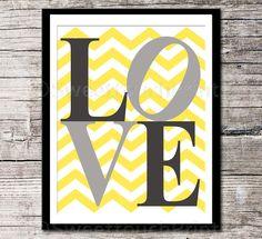 LOVE print - yellow grey nursery decor - 8x10 - kids room art, inspirational typography print - chevron - pick your colors