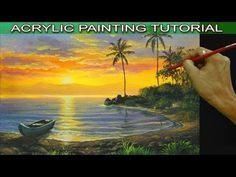 Acrylic Landscape Painting Tutorial Tropical Sunset with Boat on Lake and Palm Trees - YouTube