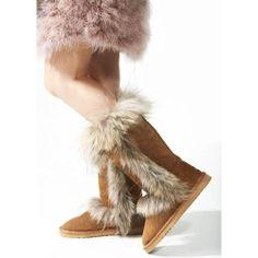 Women Brown Cowhide Leather Fox Fur Flat Winter Warm High Snow Boots SKU-143416