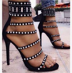 bec7e6b91204 New Arrival Women Sandals Peep Toe Fashion High Thin Heel Sexy Summer  Spring Rivet Decoration Zipper