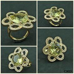 Anel com pedra Green Gold lapidada cravejado de Zircônias, www.ckdsemijoias.com.br