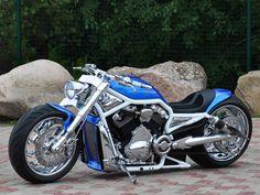 "Awesome custom bike Harley Davidson V Rod ""Blue"" by Fredy. Custom Street Bikes, Custom Sport Bikes, Custom Harleys, Harley Davidson V Rod, Harley Davidson Motorcycles, Harley Davison, Vrod Harley, M109, Chopper Bike"