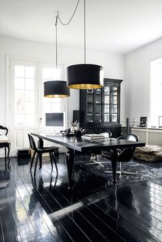 Stunning black and white dining room