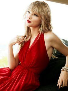 bca9faf99d Taylor Swift Red Halter Prom Evening Dress Cover of Delta Sky Magazine