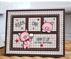 Cute MFT Hog Heaven card by Inkyfingered Carol - those piggies are so cute!
