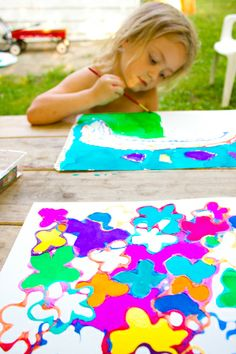 Love this idea....add acrylic paint to Elmer's to make colored glue.  Make shapes out of the glue.  Let dry.  Then, watercolor inside the shapes.  Glitter glue would sure be fun with this too.