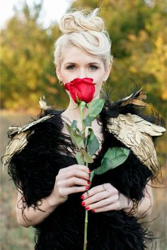 Single red rose | Alea Lovely Photography | http://burnettsboards.com/2013/12/holiday-couture-gothic-glam/