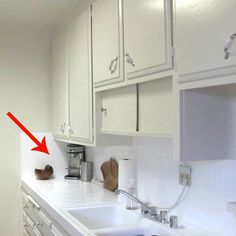small kitchen ideas tension rod above the sinks and open shelving, kitchen design, organizing, shelving ideas