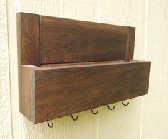 Mail and Key Rack / Weathered Douglas Fir with OPTIONAL Top Shelf / The Douglas