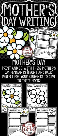 Mother's Day Writing Pennant Print & Go with these Pennants! These Mother's Day Writing Pennants are perfect for a quick interactive activity for your students to create for their mother's on this special day! Colored and Black & White are included.