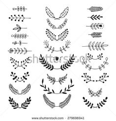 Set of vector handdrawn laurels, wreath, nature, floral doodle collection. Decoration elements for design invitation, wedding cards, valentines day, greeting cards