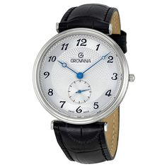 Grovana Silver Arabic Dial Black Leather Small Seconds Men's Watch 1276-5532 - Grovana - Watches - Jomashop