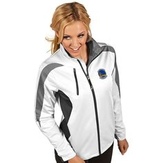 Women's Antigua Golden State Warriors Discover Pullover ($110) ❤ liked on Polyvore featuring white and antigua