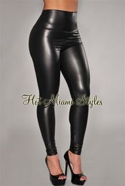 Black Liquid Faux-Leather High-Waist Leggings