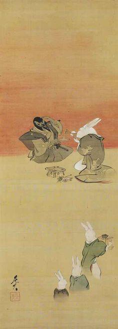 Sparrow and rabbits celebrating new year. Shibata Zeshin. Nineteenth c. Japan