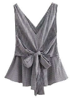 69aae36d28 Goodnight Macaroon  Reagan  Gingham Front Tied Sleeveless Flare Top Black  Front Fashion Over 40