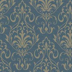 YW1428 | Blue French Damask Wallpaper | TotalWallcovering.