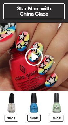 nail polish nails simple Make Your Nails the Star with This Cool Manicure Nail Art Designs Videos, Nail Art Videos, Cute Nail Designs, Nail Design Video, Cute Nail Art, Nail Art Diy, Diy Nails, Star Nail Art, Nail Art Vernis