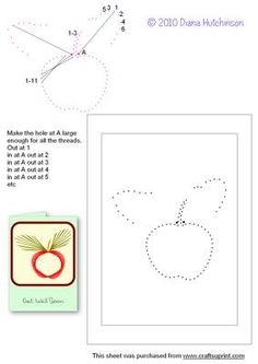 Apple on Craftsuprint designed by Diana Hutchinson - a stitch (or prick) pattern with an apple. - Now available for download!