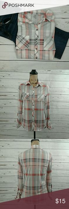 Vanity button up plaid shirt White with purple and coral plaid collared button up shirt. 100 % polyester. Long  sleeve. Armpit to armpit is 17 1/2 inches. Length from shoulder to hem is 24 inches Vanity Tops Button Down Shirts