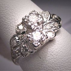 Antique Diamond Wedding Ring, Diamonds and White Gold, Vintage Art Deco Engagement Ring.  Anniversary band.