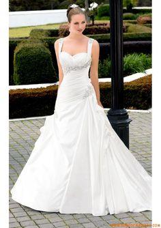 Robe de mariée satin perlé strass avec bretelles amovibles