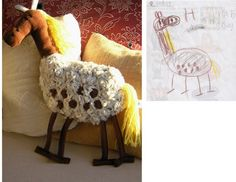 "This site is so cool!  ""Child's Own"" creates stuffed toys based off of kid's drawings.  www.childsown.com/"