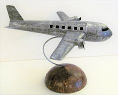 "VTG Tin Metal Aircraft Air Plane Desk Folk Art Sculpture Coconut Base 9"" x 11"" #FolkArt #unknown"
