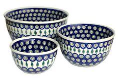 Peacock Polish pottery mixing bowl set