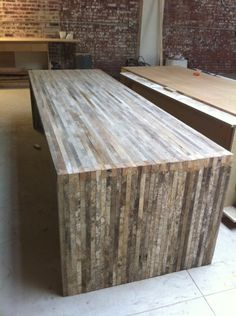 love this refurbished table. barnwood as a modern rustic kitchen table + island
