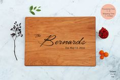 Unique Wedding Gift Wooden Cutting Board Personalized Script Last Name Couples Gift Engraved Custom Engagement Present For Bride Family Name