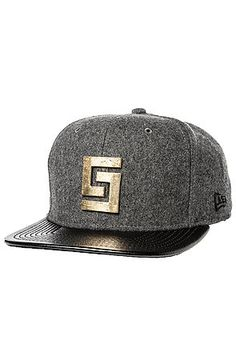 Crooks and Castles Hat Greco Log in Charcoal Heather and black leather