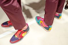 Bright pop-coloured trainers at Burberry Prorsum SS15, London Collections: Men. More images here: http://www.dazeddigital.com/fashion/article/20349/1/burberry-prorsum-ss15