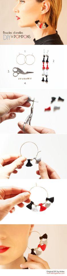 Earrings DIY / DIY boucles d'oreilles pompons / Jewel DIY / DIY bijou / Jewelry DIY / DIY bijoux / DIY créoles pompons - Blog DIY Artlex