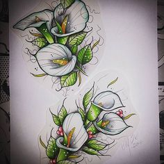Amazing little neo traditional calla lilies tattoo design which was created by @mikeagostinetto with their Chameleon Pens. #neotradeu #neotraditional #tattoo #tattooart #tattoodesign #tattooart #neotraditionaltattoo #chameleonpens #flowers