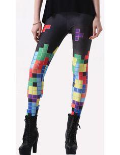 Unique Womens Colorful Tetris Print Tight Pants Fashion Leggings