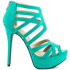 JustFab Women's Lilias - Seafoam ($55) ❤ liked on Polyvore featuring shoes, heels, green, green platform shoes, stiletto heel shoes, heels stilettos, high heels stilettos и zip shoes