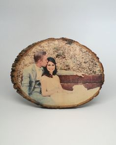 Custom Photo Transferred onto Wood Tree Slices.  Have your own custom photo transferred directly onto the surface of the wood (with no margins or