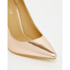 Public Desire Josie Rose Gold Court Shoes ($37) ❤ liked on Polyvore featuring shoes, pumps, pointed toe high heel pumps, high heel shoes, slip on shoes, pointed toe stilettos and metallic pointed toe pumps
