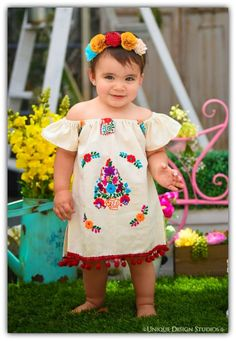 2ba03115490 Moni Mexican Embroidered off shoulder Fiesta Baby Dress