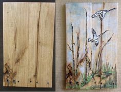 This is amazing what Brenda did with my pallet wood canvas. She incorporated so much of the wood texture into the art... this is simply awesome!! RedeemWood (https://www.facebook.com/Redeemwood )canvas on the left and Brenda's art incorporated on the right...(https://www.facebook.com/BBBoardsArt)