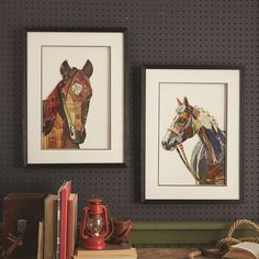 Horse Collage Wall Art Assortment of 2 Designs by Two's Company - Seven Colonial Wall Collage, Wall Art, Two's Company, Wall Decor, Horses, Glass, Frame, Painting, Colonial